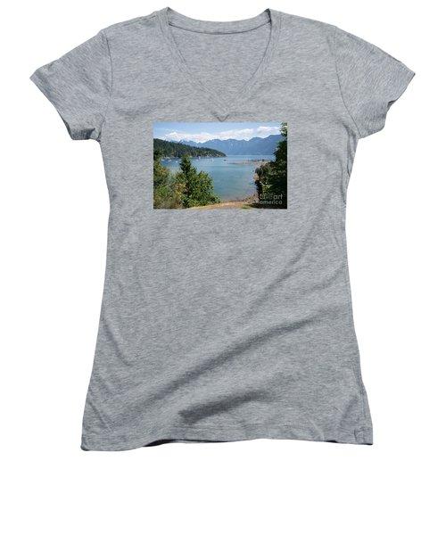 Snug Cove  Women's V-Neck T-Shirt (Junior Cut) by Carol Ailles