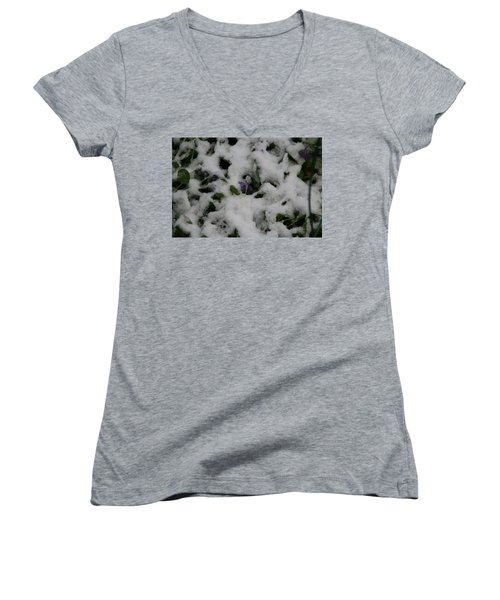 Women's V-Neck T-Shirt (Junior Cut) featuring the photograph So Much For An Early Spring by David S Reynolds