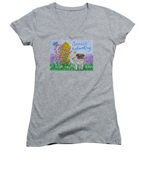 Women's V-Neck T-Shirt (Junior Cut) featuring the painting Social Networking Pug by Diane Pape