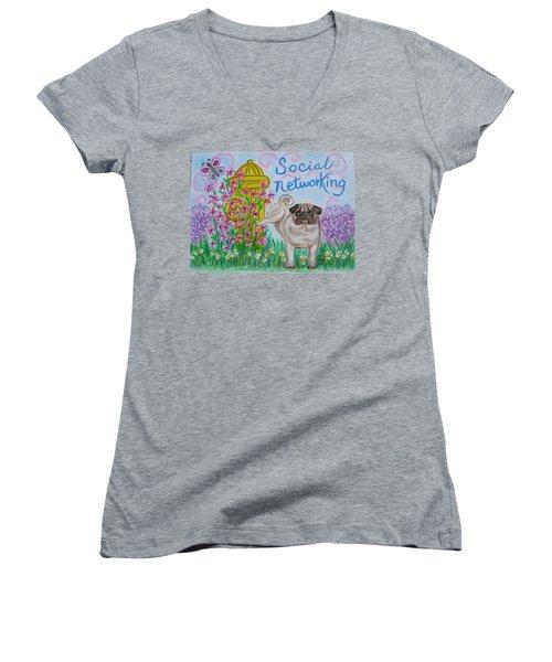 Social Networking Pug Women's V-Neck T-Shirt