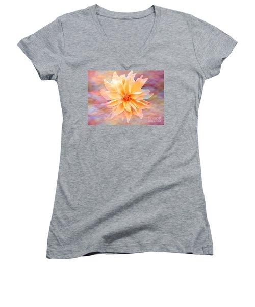 Women's V-Neck T-Shirt (Junior Cut) featuring the photograph Soft Delightful Dahlia by Judy Palkimas