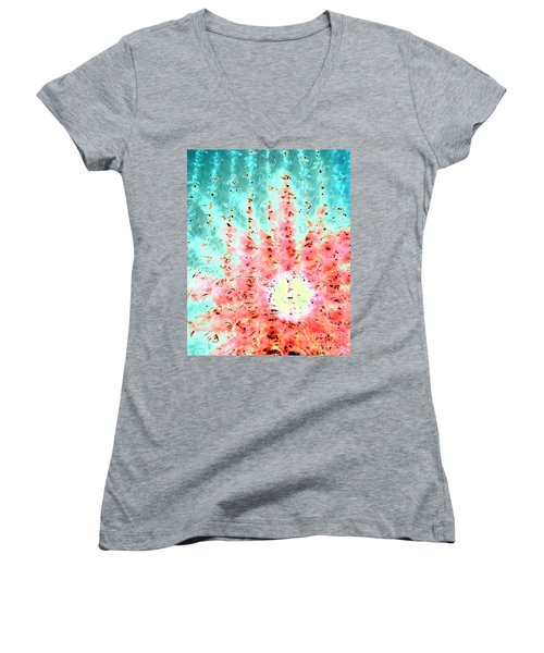 Soft Morning Rain Women's V-Neck T-Shirt (Junior Cut) by Jacqueline McReynolds