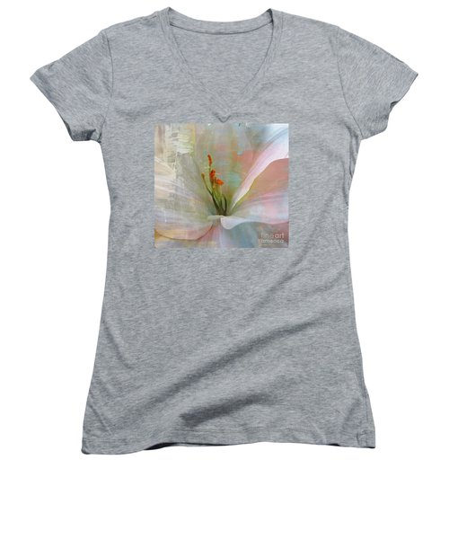 Women's V-Neck T-Shirt (Junior Cut) featuring the photograph Soft Painted Lily by Judy Palkimas