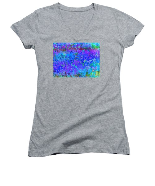 Women's V-Neck T-Shirt (Junior Cut) featuring the photograph Soft Pastel Floral Abstract by Judy Palkimas