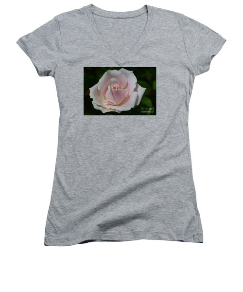 Women's V-Neck T-Shirt (Junior Cut) featuring the photograph Soft Pink Rose by Jeannie Rhode