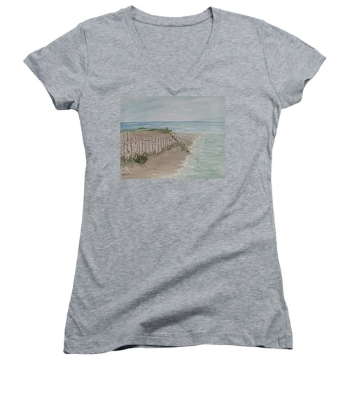 Women's V-Neck T-Shirt (Junior Cut) featuring the painting Soft Sea by Barbara McDevitt