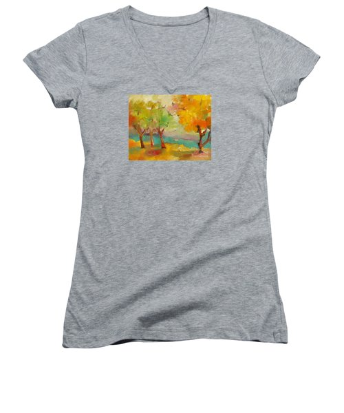 Soft Trees Women's V-Neck T-Shirt (Junior Cut) by Michelle Abrams