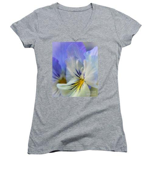 Soft White Pansy Women's V-Neck T-Shirt