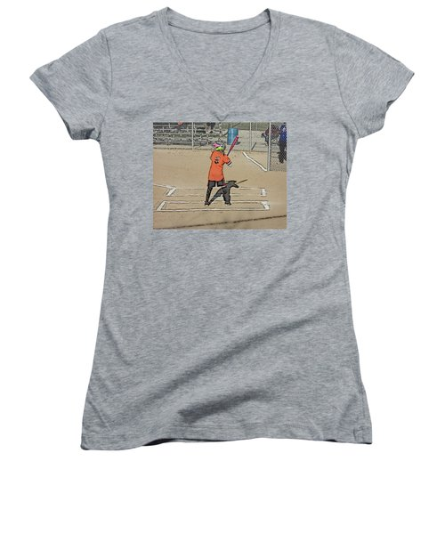 Softball Star Women's V-Neck T-Shirt (Junior Cut) by Michael Porchik