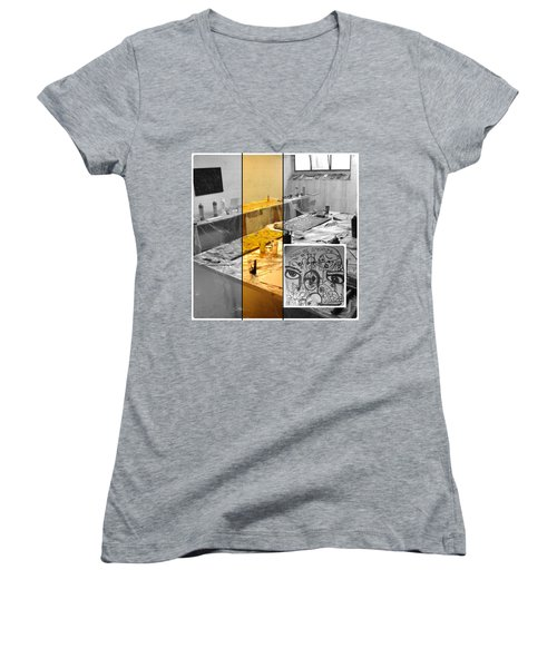 Women's V-Neck T-Shirt (Junior Cut) featuring the photograph Sogno Nel Presente Part One by Sir Josef - Social Critic - ART