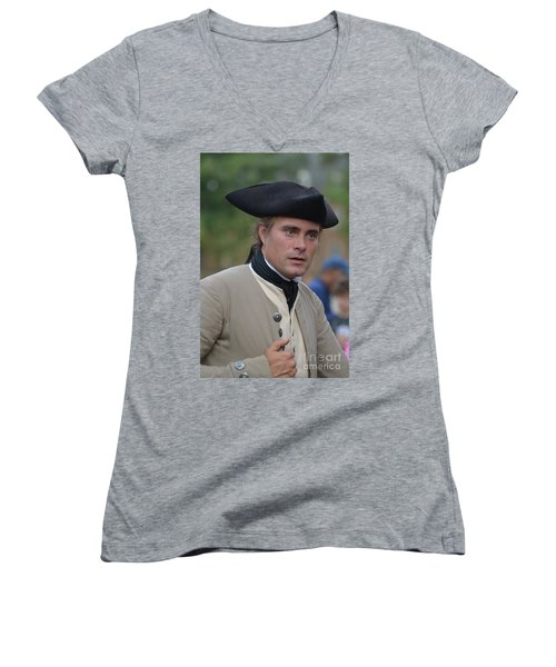 Soldier In Colonial Williamsburg Women's V-Neck T-Shirt