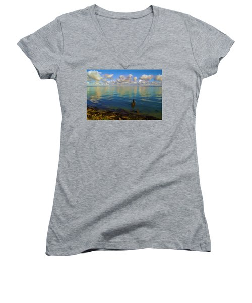 Women's V-Neck T-Shirt (Junior Cut) featuring the digital art Solent by Ron Harpham
