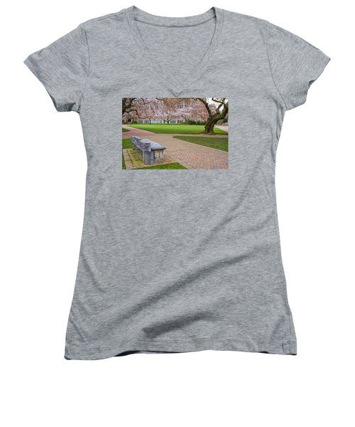 Women's V-Neck T-Shirt (Junior Cut) featuring the photograph Solitary Bench by Sonya Lang