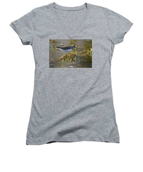 Solitary Sandpiper 2 Women's V-Neck (Athletic Fit)