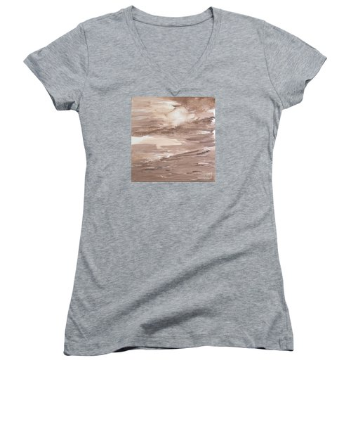 Women's V-Neck T-Shirt (Junior Cut) featuring the painting Solitude by Susan  Dimitrakopoulos