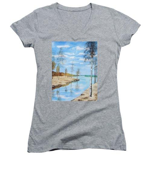 Somewhere In Dalarna Women's V-Neck T-Shirt (Junior Cut) by Martin Howard