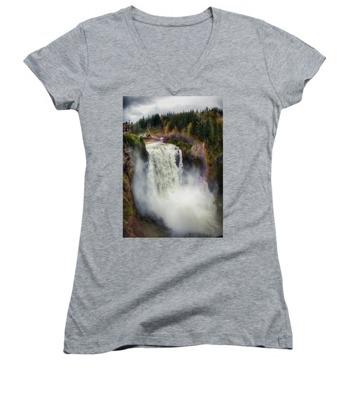 Somewhere Over The Falls Women's V-Neck (Athletic Fit)