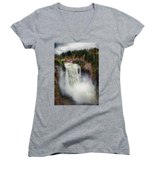 Somewhere Over The Falls Women's V-Neck T-Shirt (Junior Cut)