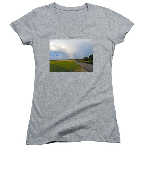Somewhere Under The Rainbow Women's V-Neck (Athletic Fit)