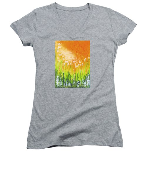 Women's V-Neck T-Shirt (Junior Cut) featuring the painting Sonbreak by Holly Carmichael