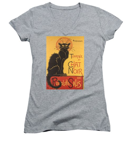 Soon The Black Cat Tour By Rodolphe Salis  Women's V-Neck T-Shirt