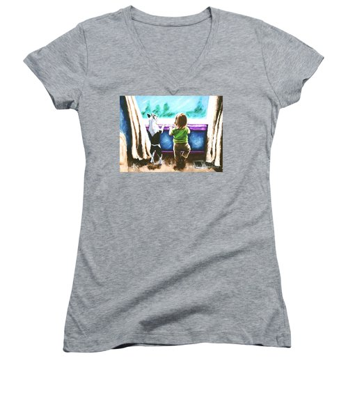 Waiting For Daddy Women's V-Neck T-Shirt (Junior Cut) by Jackie Carpenter