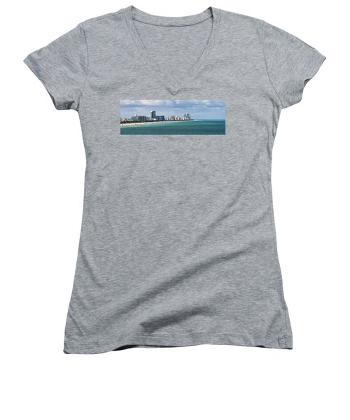 South Beach On A Summer Day Women's V-Neck (Athletic Fit)
