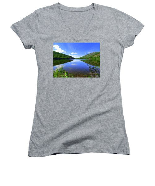 South Branch Pond Women's V-Neck T-Shirt (Junior Cut) by Elizabeth Dow