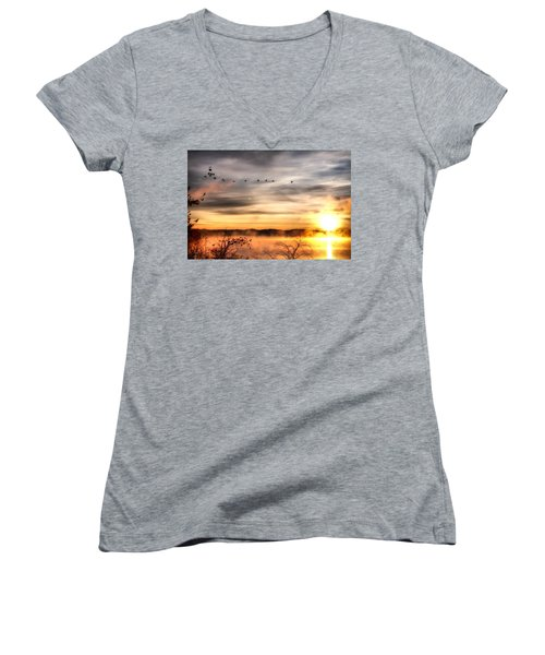 Women's V-Neck T-Shirt (Junior Cut) featuring the photograph South Carolina Morning by Lynne Jenkins