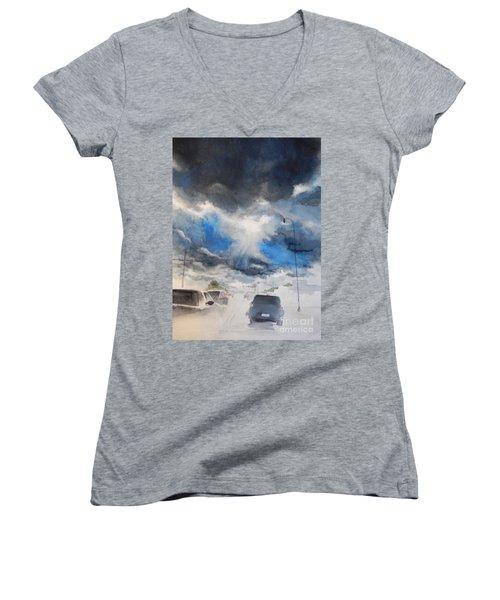 South Maple Road   Ann Arbor Michigan Women's V-Neck T-Shirt (Junior Cut) by Yoshiko Mishina