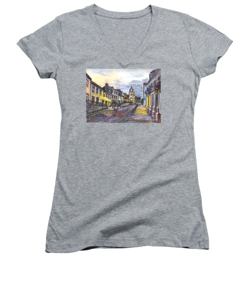 Nightfall At South Queensferry Edinburgh Scotland At Dusk Women's V-Neck T-Shirt (Junior Cut) by Carol Wisniewski
