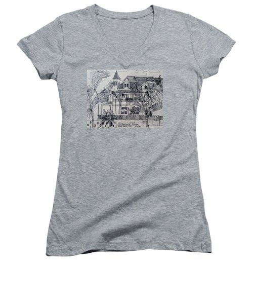 Women's V-Neck T-Shirt (Junior Cut) featuring the mixed media Southernmost House  Key West Florida by Diane Pape