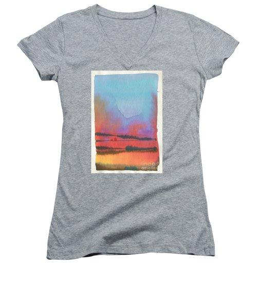 Women's V-Neck T-Shirt (Junior Cut) featuring the painting Southland by Donald Maier