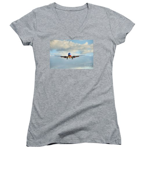 Southwest Airline Landing Gear Down Women's V-Neck (Athletic Fit)