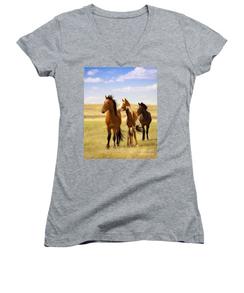 Southwest Wild Horses On Navajo Indian Reservation Women's V-Neck (Athletic Fit)