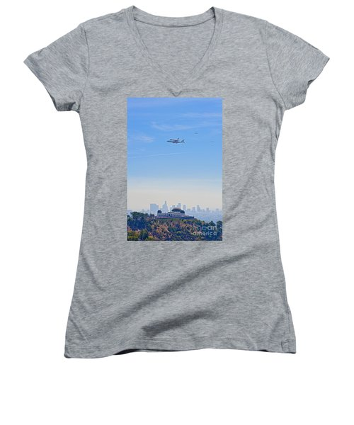 Space Shuttle Endeavour And Chase Planes Over The Griffith Observatory Women's V-Neck (Athletic Fit)