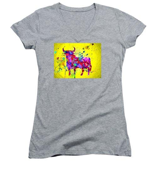 Spanish Bull Women's V-Neck T-Shirt (Junior Cut)