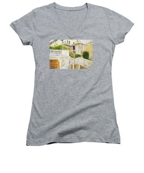 Women's V-Neck T-Shirt (Junior Cut) featuring the painting Spanish Steps by Carol Flagg