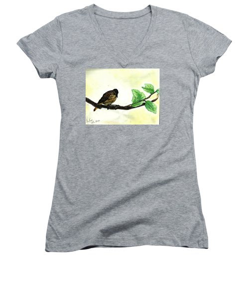 Sparrow On A Branch Women's V-Neck T-Shirt (Junior Cut) by Francine Heykoop