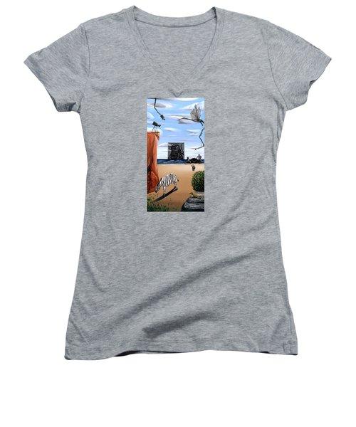 Species Differentiation -darwinian Broadcast- Women's V-Neck T-Shirt (Junior Cut) by Ryan Demaree
