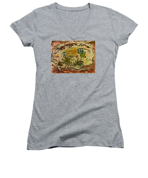 Women's V-Neck T-Shirt featuring the painting Evolution by Thomasina Durkay