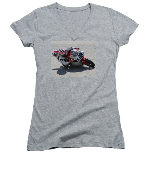 Women's V-Neck T-Shirt (Junior Cut) featuring the pyrography Speed In The Corner by Shoal Hollingsworth