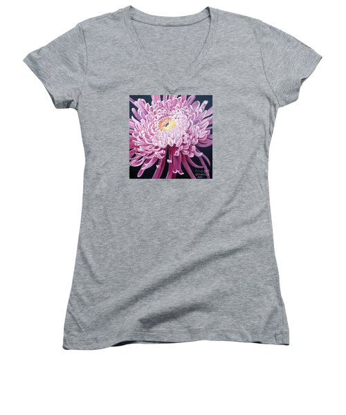 Women's V-Neck T-Shirt (Junior Cut) featuring the painting Spider Mum by Debbie Hart
