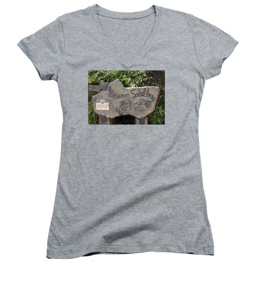 Spielberg's Ride Women's V-Neck T-Shirt (Junior Cut) by David Nicholls