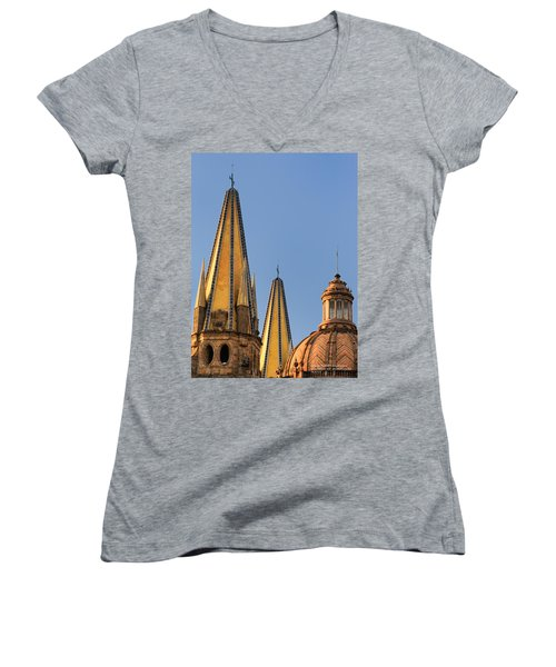 Spires And Dome - Cathedral Of Guadalajara Mexico Women's V-Neck T-Shirt (Junior Cut) by David Perry Lawrence