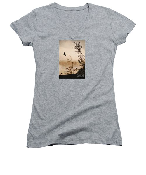 Spirit Of Alaska Women's V-Neck T-Shirt (Junior Cut) by Cynthia Lagoudakis