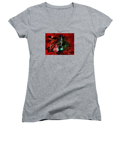 Women's V-Neck T-Shirt (Junior Cut) featuring the painting Spirit Of Christmas by LaVonne Hand
