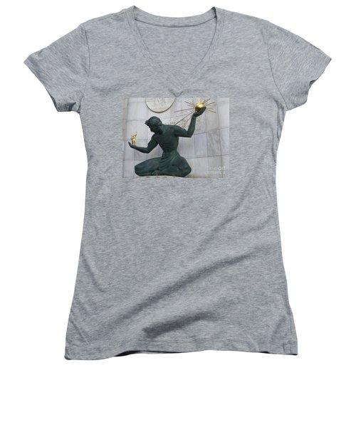 Spirit Of Detroit Women's V-Neck T-Shirt (Junior Cut) by Ann Horn