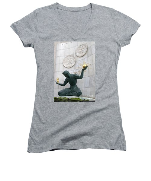 Spirit Of Detroit Monument Women's V-Neck T-Shirt