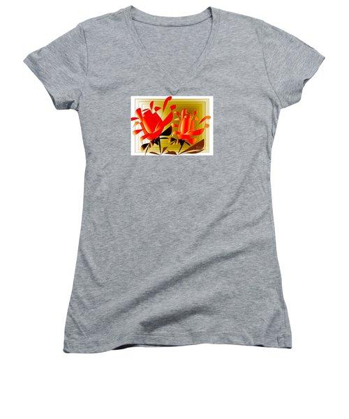 Women's V-Neck T-Shirt (Junior Cut) featuring the digital art Spirit Of Roses by Iris Gelbart
